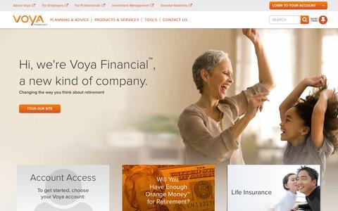 Screenshot of Home Page voya.com - Retirement, Insurance & Investments   Voya Financial - captured Sept. 22, 2014