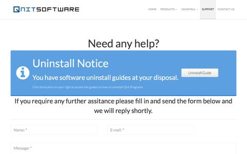 Screenshot of Support Page qnitsoft.com - Support - QNIT SOFTWARE - captured July 8, 2018