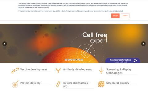 Screenshot of Home Page synthelis.com - Synthelis - Cell-free protein synthesis - captured Dec. 8, 2018