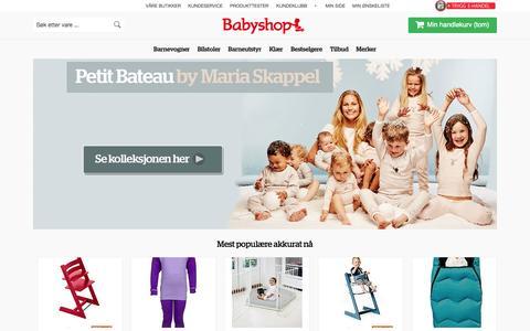 Screenshot of Home Page babyshop.no - Babyshop - En trygg start på livet! - captured Sept. 18, 2014