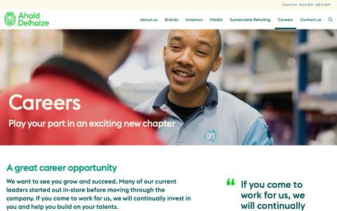 Screenshot of Jobs Page aholddelhaize.com - Careers | Ahold Delhaize - captured Feb. 16, 2019