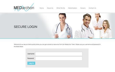 Screenshot of Login Page medarchon.com - Secure Login - MEDarchon - captured Oct. 28, 2014