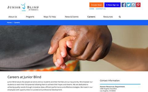 Screenshot of Jobs Page juniorblind.org - Careers - Junior Blind of America - captured Nov. 22, 2016