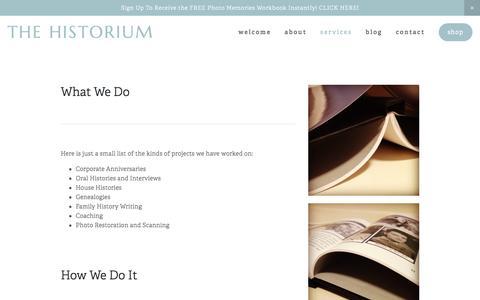 Screenshot of Services Page thehistorium.com - Services — The Historium - captured Dec. 16, 2016