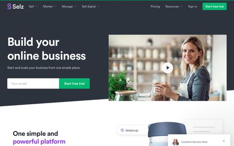 Screenshot of Home Page selz.com - Selz - the Ecommerce Platform for growing businesses - captured July 18, 2019