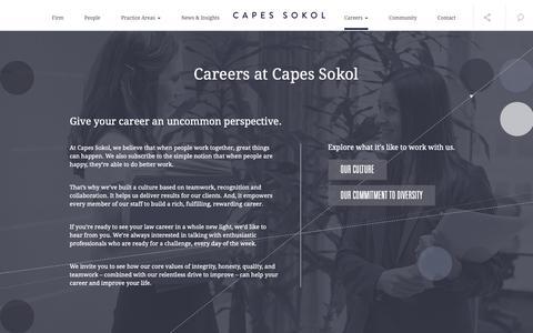 Screenshot of Jobs Page capessokol.com - Capes Sokol | Legal Careers - captured Sept. 26, 2018