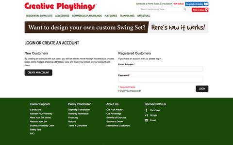 Screenshot of Login Page creativeplaythings.com - Customer Login - captured May 23, 2017
