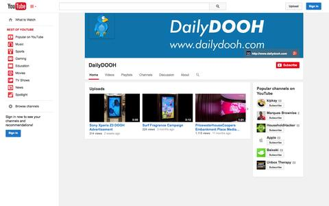 Screenshot of YouTube Page youtube.com - DailyDOOH  - YouTube - captured Oct. 25, 2014