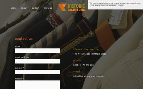 Screenshot of Contact Page historicengineering.com - contact — Historic Engineering - captured July 15, 2016