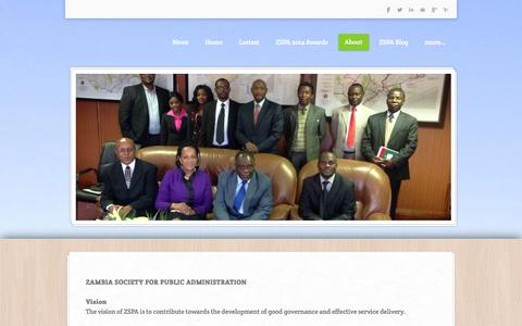Screenshot of About Page weebly.com - About - Zambian Society for Public Administration - captured Oct. 27, 2014