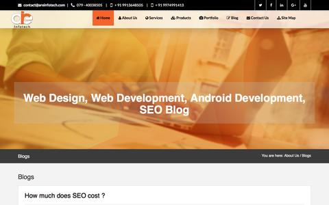 Screenshot of Blog areinfotech.com - Latest Blog on Website design industry – blog on SEO techniques - captured May 28, 2017