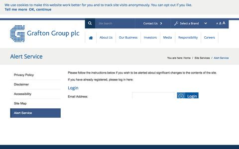 Screenshot of Signup Page graftonplc.com - Alert Service – Grafton Group plc - captured Feb. 1, 2016