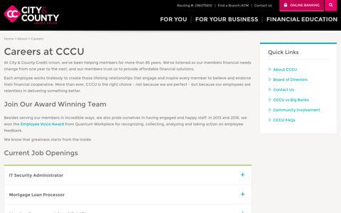 Screenshot of Jobs Page cccu.com - Banking Careers in Minnesota - CCCU - captured Oct. 31, 2017