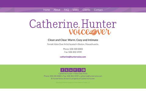 Screenshot of Contact Page huntervoice.com - Contact | Catherine Hunter - captured Feb. 2, 2016