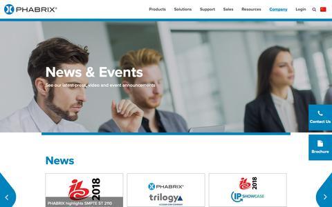 Screenshot of Press Page phabrix.com - News & Events - Phabrix - captured Sept. 26, 2018