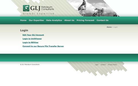 Screenshot of Login Page gljpc.com - Login | GLJ Petroleum Consultants - captured Oct. 1, 2014