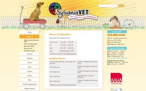 Screenshot of Hours Page sylvaniavet.com - Hours of Operation | SylvaniaVET - captured Sept. 30, 2014