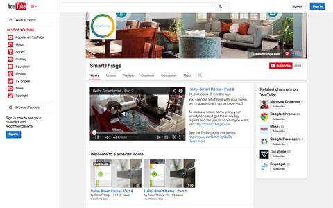 Screenshot of YouTube Page youtube.com - SmartThings  - YouTube - captured Oct. 22, 2014