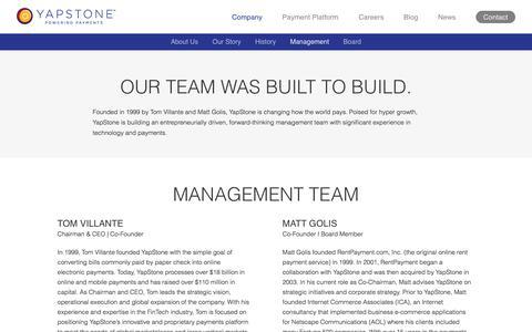 Screenshot of Team Page yapstone.com - Management Team - captured July 10, 2018