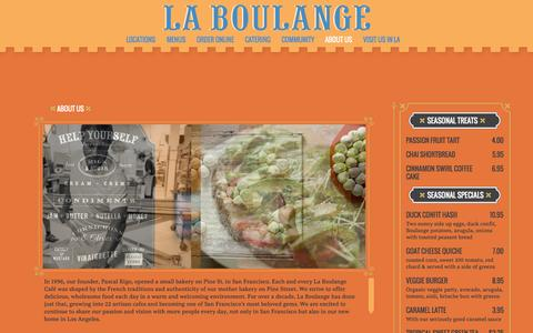 Screenshot of About Page laboulangebakery.com - About Us |  La Boulange - captured Oct. 27, 2014