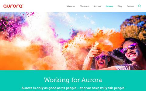 Screenshot of Jobs Page auroracomms.com - Working for Aurora - Aurora - captured Oct. 4, 2018