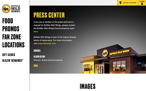 Screenshot of Press Page buffalowildwings.com - Buffalo Wild Wings Press Center – Buffalo Wild Wings® is the ultimate place to get together with your friends, watch sports, drink beer, and eat wings. Order online today. - captured Sept. 3, 2018