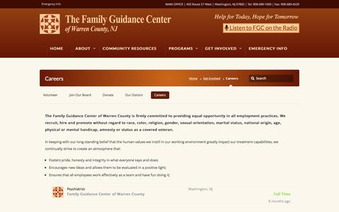 Screenshot of Jobs Page fgcwc.org - Careers - Family Guidance Center of Warren County Family Guidance Center of Warren County - captured Nov. 25, 2016