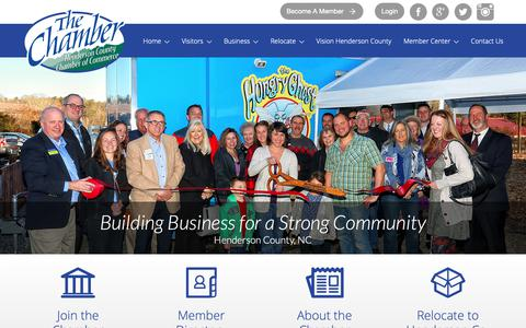 Screenshot of Home Page hendersoncountychamber.org - Hendersonville, NC - Henderson County Chamber - captured Sept. 28, 2018