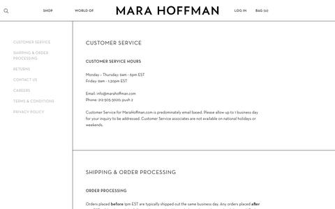 Screenshot of Contact Page Terms Page marahoffman.com - Company | Service | Shipping | Contact | Term - captured Aug. 10, 2017