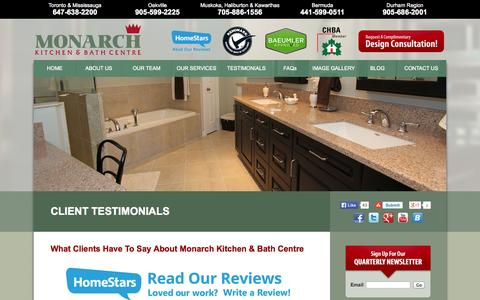 Screenshot of Testimonials Page mkbi.com - Customer Testimonials for Monarch Kitchen and Bath Centre - captured Oct. 26, 2014