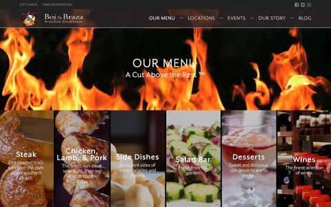 Screenshot of Menu Page boinabraza.com - Brazilian Style Barbecue Menu | Lunch & Dinner | Boi Na Braza - captured Aug. 3, 2018