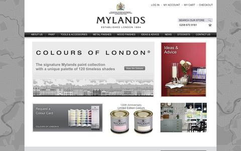 Screenshot of Home Page Products Page Support Page mylands.co.uk - Mylands of London | Signature Paint Collection - captured Oct. 25, 2014
