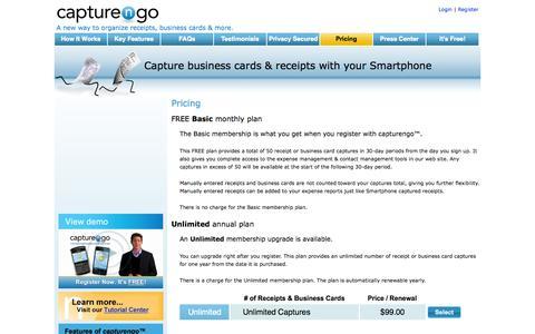 Screenshot of Pricing Page capturengo.com - Pricing - captured Sept. 26, 2014