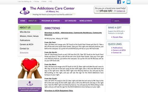 Screenshot of Maps & Directions Page theacca.net - Directions - The Addictions Care Center of Albany, Inc. - captured Oct. 27, 2014
