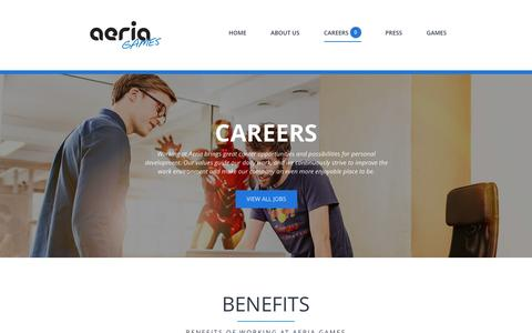 Screenshot of Jobs Page aeriagames.com - Careers | Aeria || Corporate Website - captured July 3, 2016