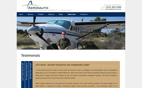 Screenshot of Testimonials Page aeronautix.com - Testimonials - Aeronautix - captured Oct. 4, 2014