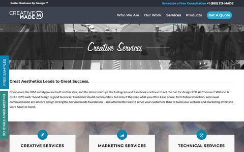 Screenshot of Services Page creativemade.com - [Creative Made] Creative Services in Denver Colorado SHOP LOCAL - captured Sept. 30, 2018