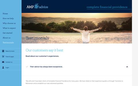Screenshot of Testimonials Page amp.com.au - Client Testimonials - Complete Financial Providence - captured March 4, 2018
