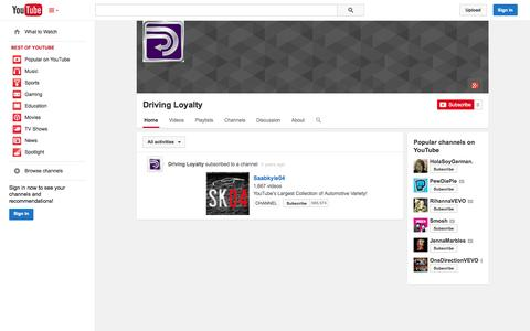 Screenshot of YouTube Page youtube.com - Driving Loyalty  - YouTube - captured Oct. 23, 2014