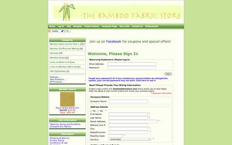 Screenshot of Login Page bamboofabricstore.com - Bamboo Fabric Store - captured Sept. 30, 2014