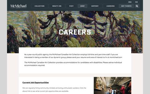 Screenshot of Jobs Page mcmichael.com - Careers – McMichael Canadian Art Collection - captured Oct. 4, 2017