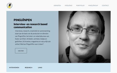 Screenshot of Home Page pinguinpen.nl - Pinguïn Pen - Tekstschrijver dichter interview Nederland - captured July 16, 2015