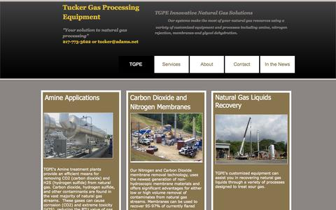 Screenshot of Home Page tuckergas.com - Tucker Gas Processing - captured Oct. 6, 2014