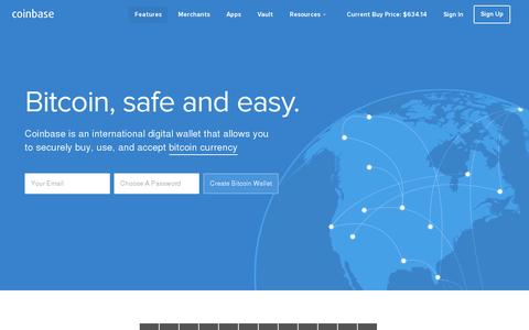 Screenshot of Home Page coinbase.com - Bitcoin Wallet - Coinbase - captured July 11, 2014