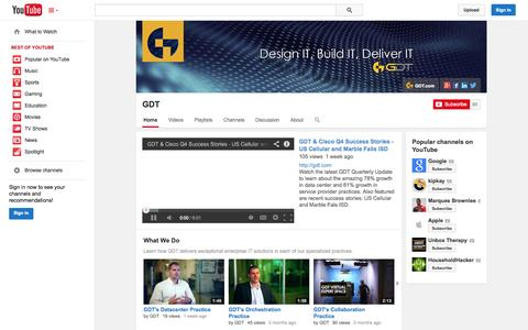Screenshot of YouTube Page youtube.com - GDT  - YouTube - captured Oct. 22, 2014