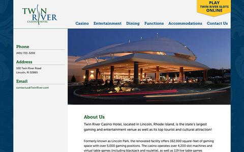Screenshot of About Page twinriver.com - About Us - Twin River Casino Hotel - captured May 31, 2019