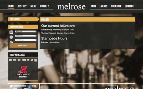 Screenshot of Hours Page melrosecalgary.com - Hours - Melrose Cafe & BarMelrose Cafe & Bar - captured Oct. 27, 2014