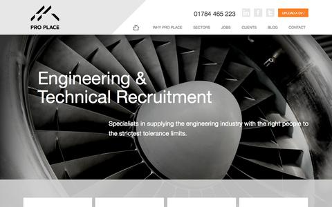 Screenshot of Home Page proplacerecruitment.com - Pro Place Recruitment - Technical Engineering Recruitment Specialists - captured Oct. 3, 2014