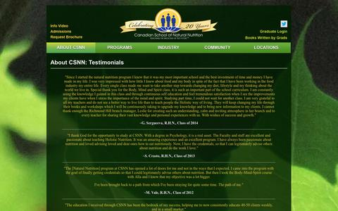 Screenshot of Testimonials Page csnn.ca - Canadian School of Natural Nutrition - Canada's Largest and Leading School in Holistic Nutrition - Testimonials - captured Nov. 4, 2014