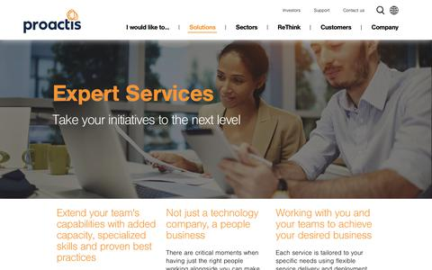 Screenshot of Services Page proactis.com - Expert Services: Take your initiatives to the next level - captured July 23, 2018